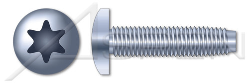 M6-1.0 X 50mm Thread-Rolling Screws for Metals, Pan Head with 6Lobe Torx(r) Drive, Zinc Plated Steel, DIN 7500 Type CE