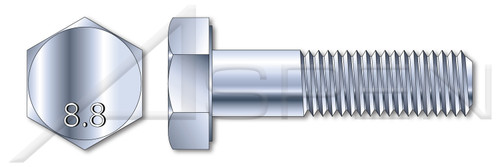 M16 X 60mm Hex Cap Screws, Partially Threaded, DIN 931 / ISO 4014, Class 8.8 Steel, Zinc Plated