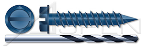 """1/4"""" X 1-1/4"""" Concrete Screws, Hex Slotted Washer Head Drive, Blue Ceramic Coating, Drill Included"""