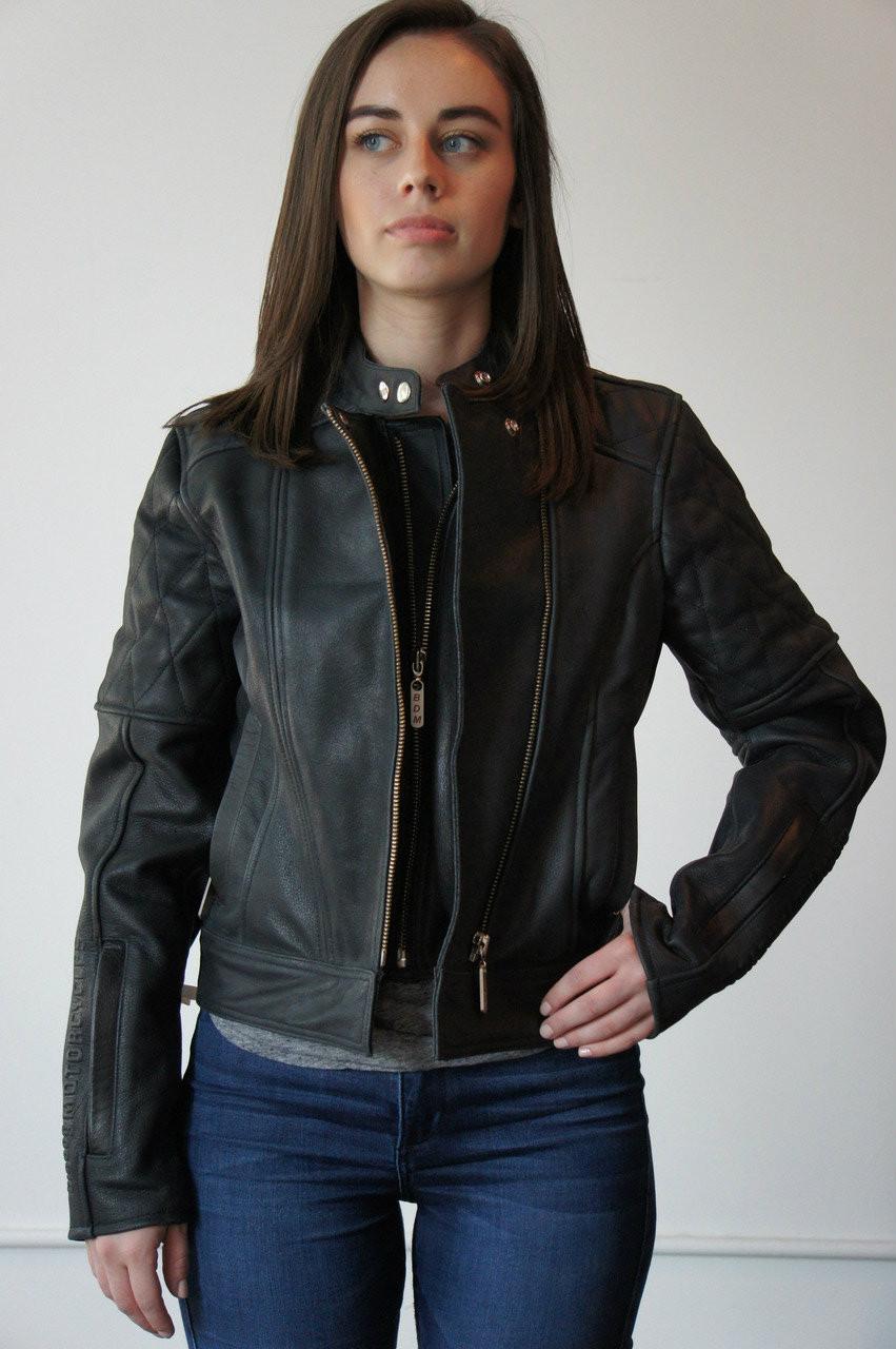 Ladies Black Leather Riding Jacket - Medium - Big Dog -2303