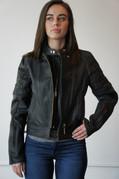 Ladies Black Leather Riding Jacket - Medium