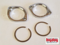 Chrome Exhaust Flange Set & clips - 1999-Present