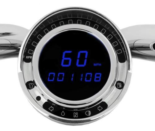 """BIG DOG """"PLUG AND PLAY"""" DIGITAL REPLACEMENT SPEEDOMETER - BLUE"""