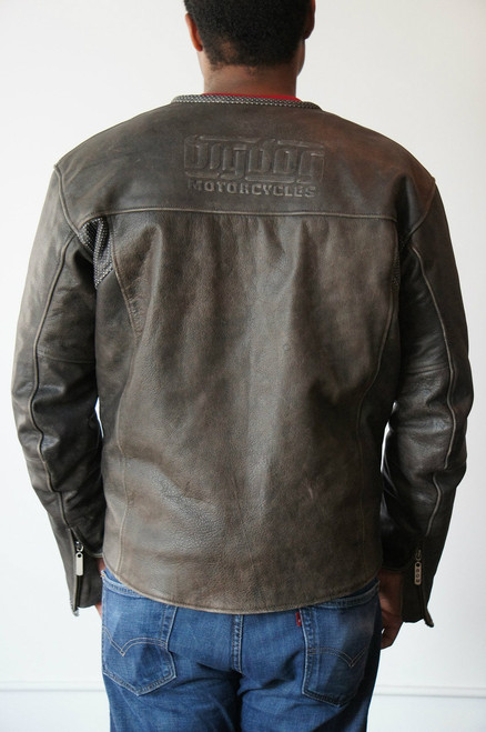 Men's Vintage Leather Riding Jacket - Large