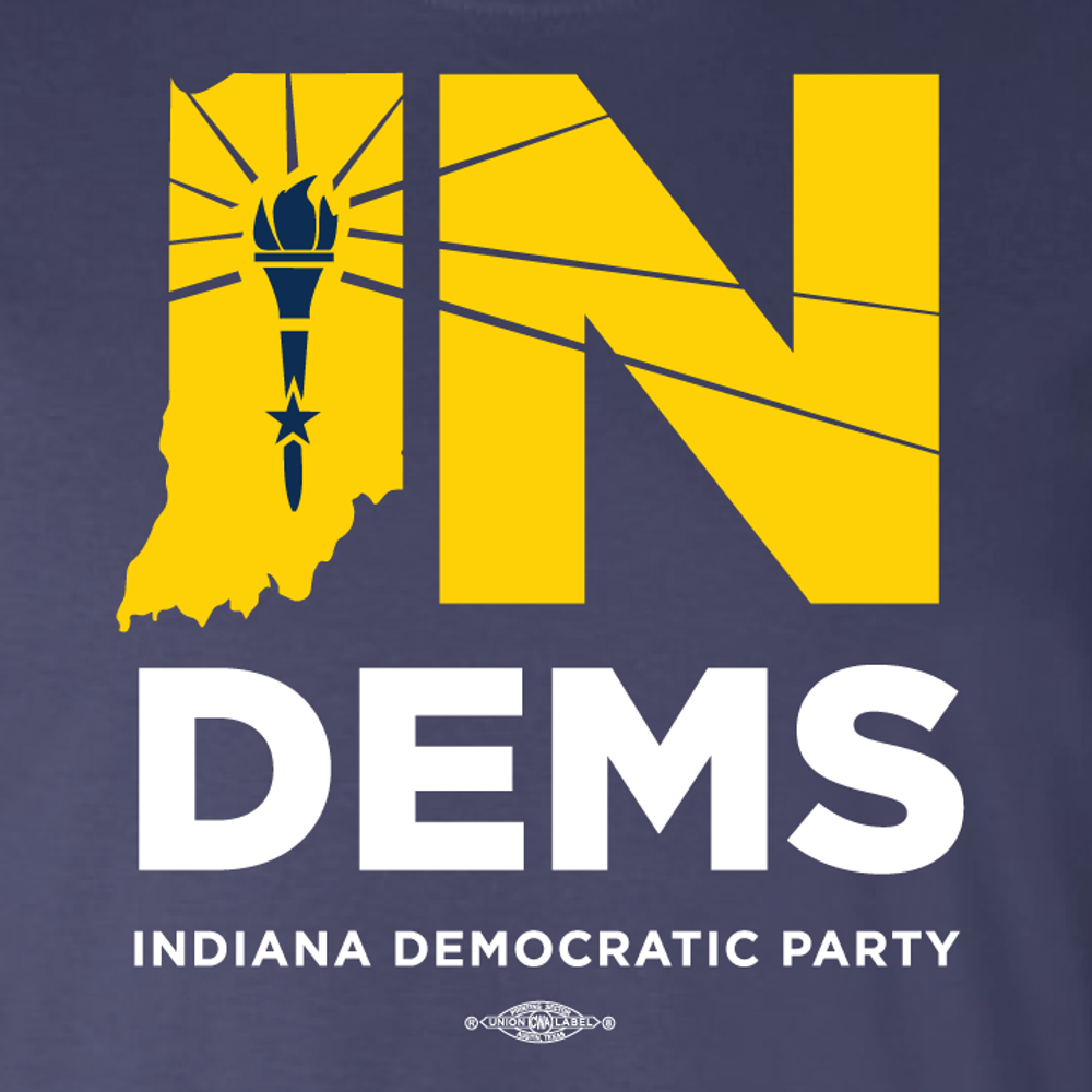 Indiana Democrats Official Logo (Navy Ladies Tee)