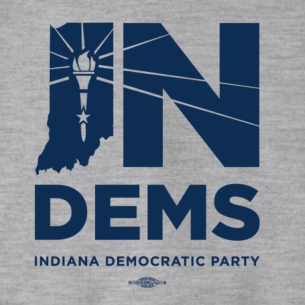 Indiana Democrats Official Logo (Dark Ash Adult Hooded Pullover Fleece)
