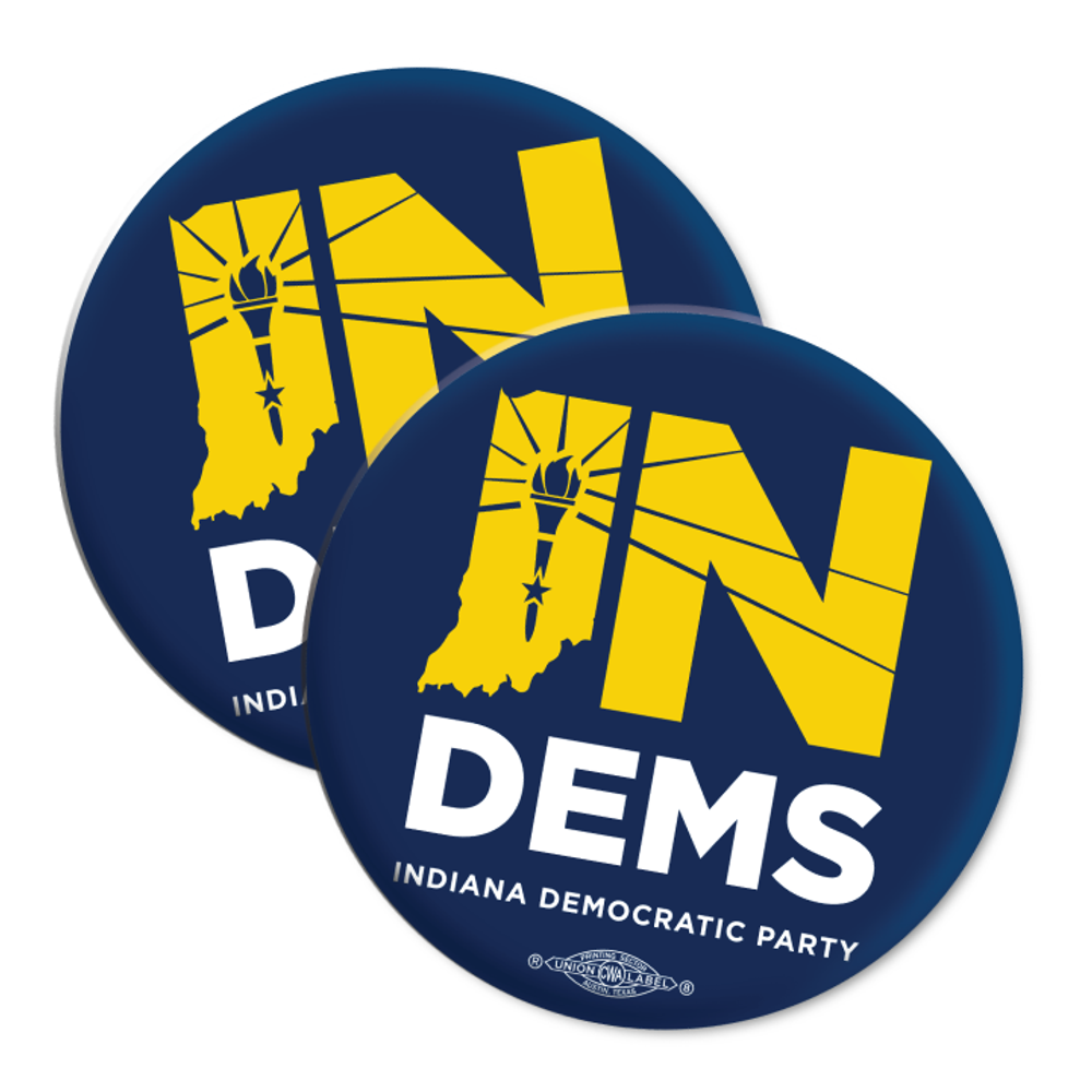"""Indiana Democrats Official Logo (2.25"""" Mylar Button -- Pack Of Two!)"""