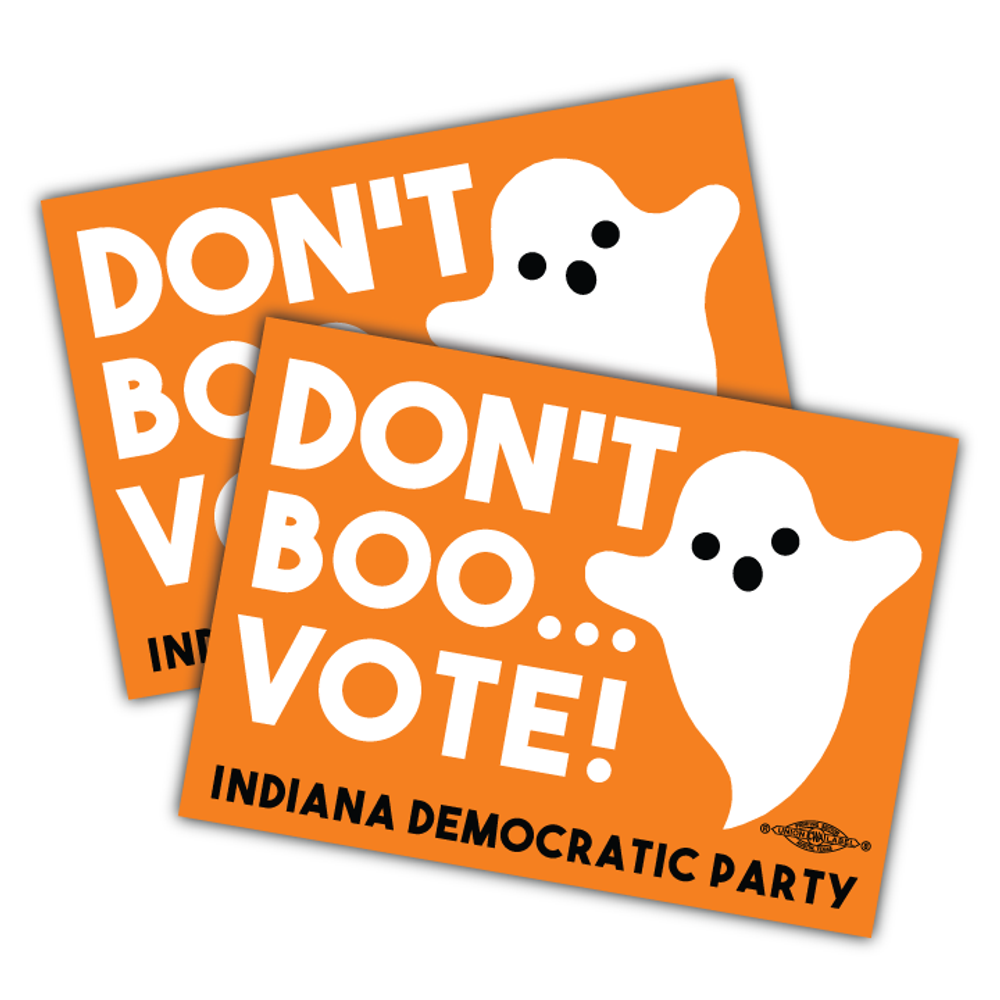 """Don't Boo... Vote! (4"""" x 3"""" Vinyl Sticker -- Pack of Two!)"""