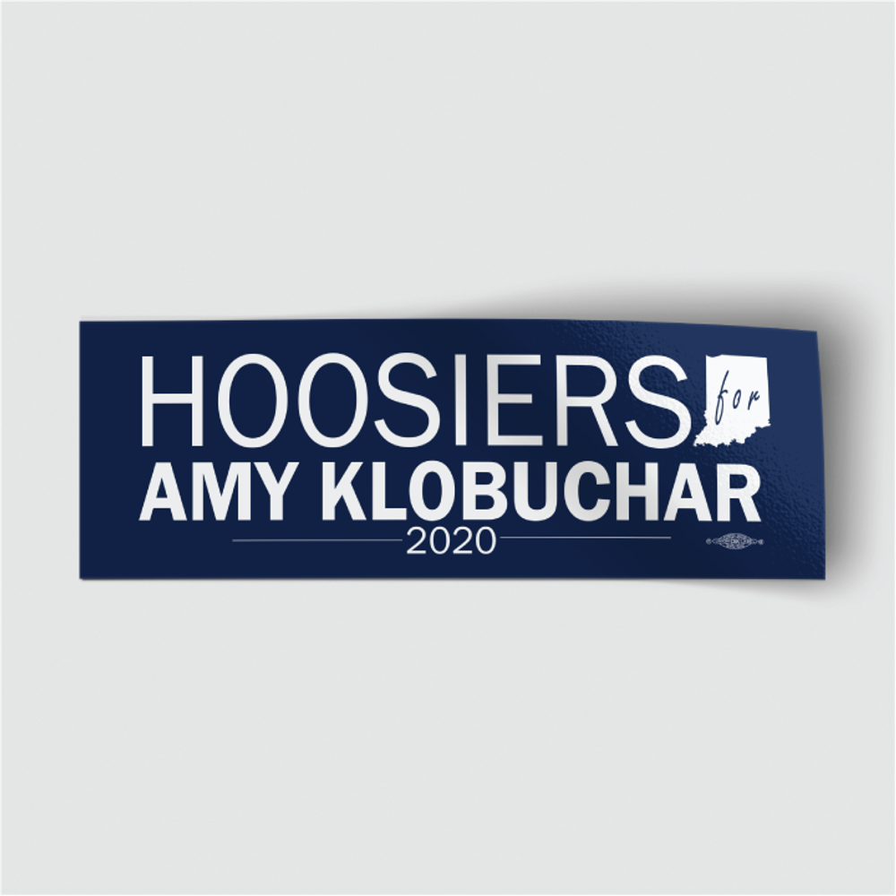"Hoosiers for Amy Klobuchar (8"" x 3"" Vinyl Sticker)"