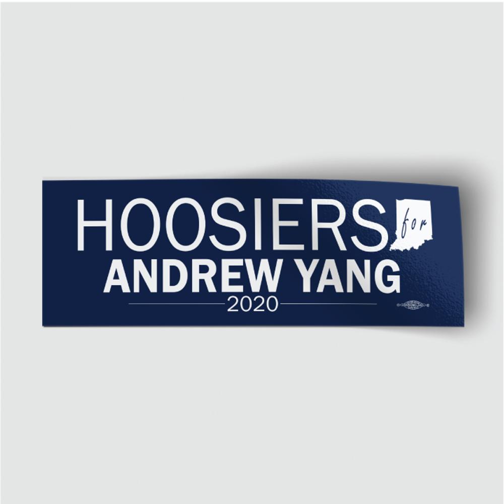 "Hoosiers for Andrew Yang (8"" x 3"" Vinyl Sticker)"