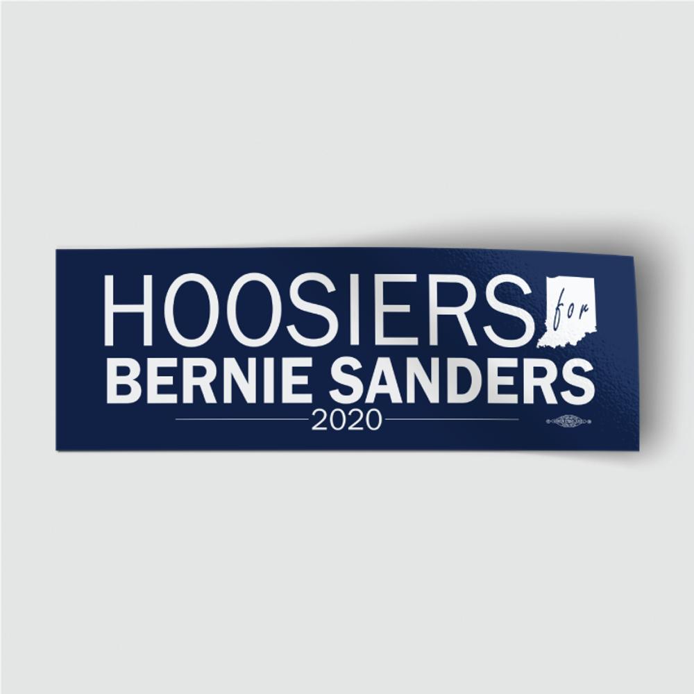 """Hoosiers for Bernie Sanders (8"""" x 3"""" Vinyl Sticker)"""