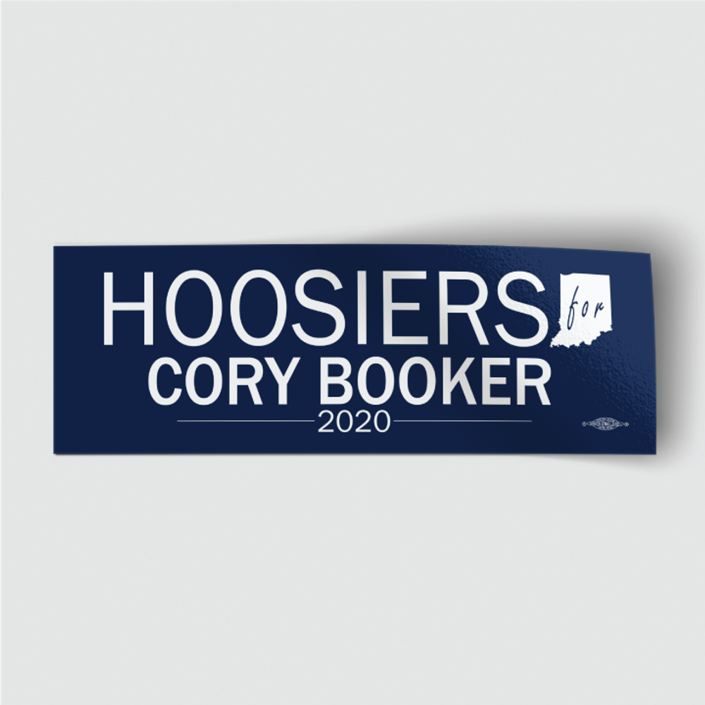 "Hoosiers for Cory Booker (8"" x 3"" Vinyl Sticker)"