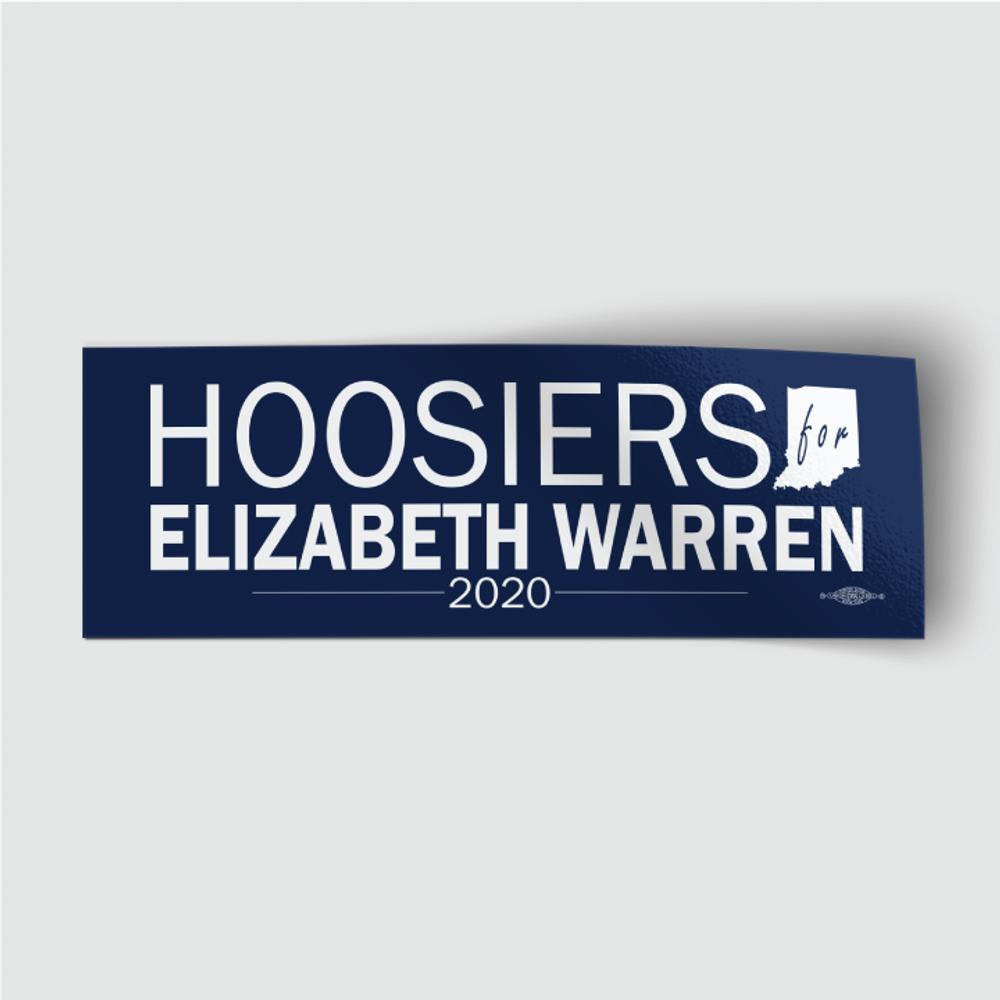 "Hoosiers for Elizabeth Warren (8"" x 3"" Vinyl Sticker)"