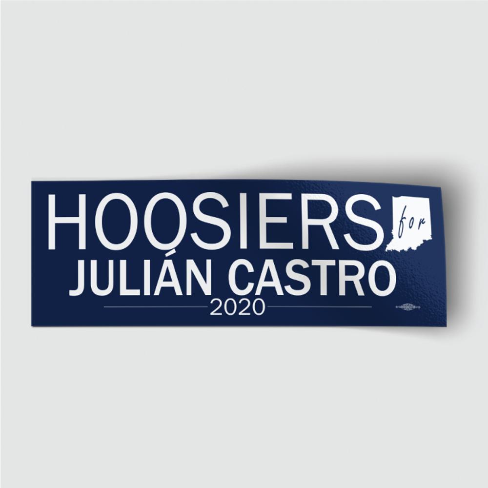"Hoosiers for Julián Castro (8"" x 3"" Vinyl Sticker)"