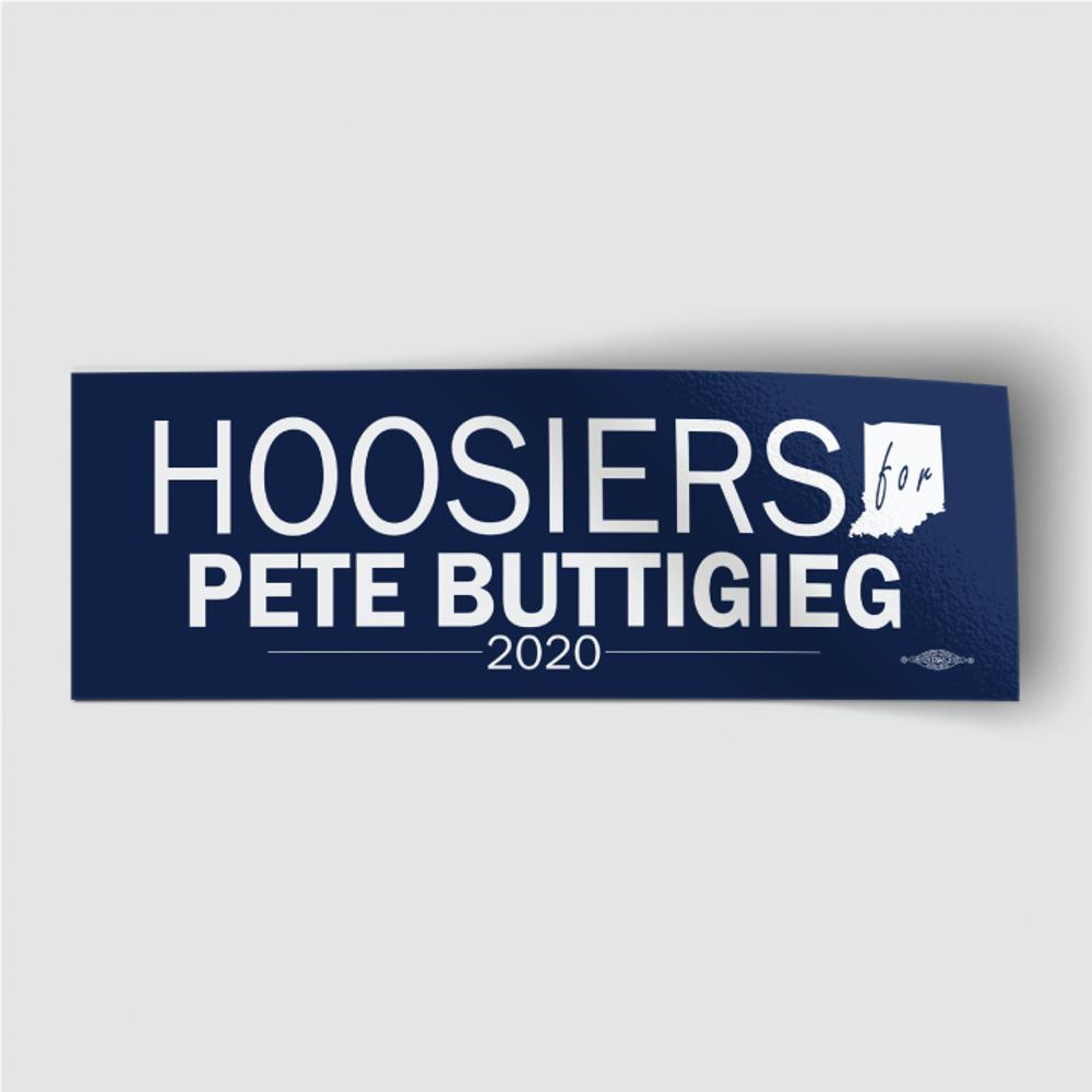 """Hoosiers for Pete Buttigieg (8"""" x 3"""" Vinyl Sticker)"""