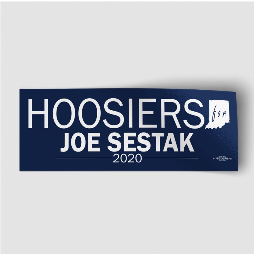 """Hoosiers For Joe Sestak (8"""" x 3"""" Vinyl Sticker)"""