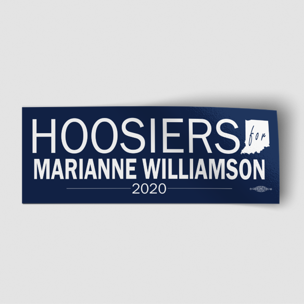 """Hoosiers For Marianne Williamson (8"""" x 3"""" Vinyl Sticker)"""