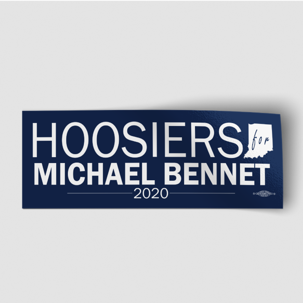 "Hoosiers For Michael Bennet (8"" x 3"" Vinyl Sticker)"