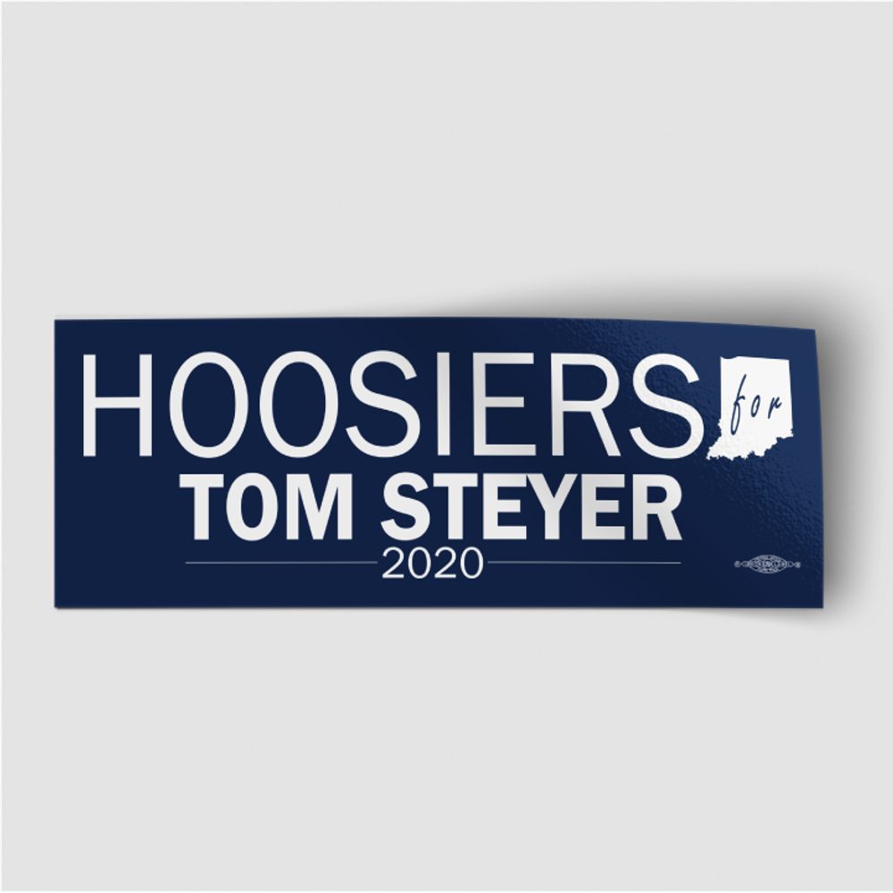 "Hoosiers For Tom Steyer (8"" x 3"" Vinyl Sticker)"