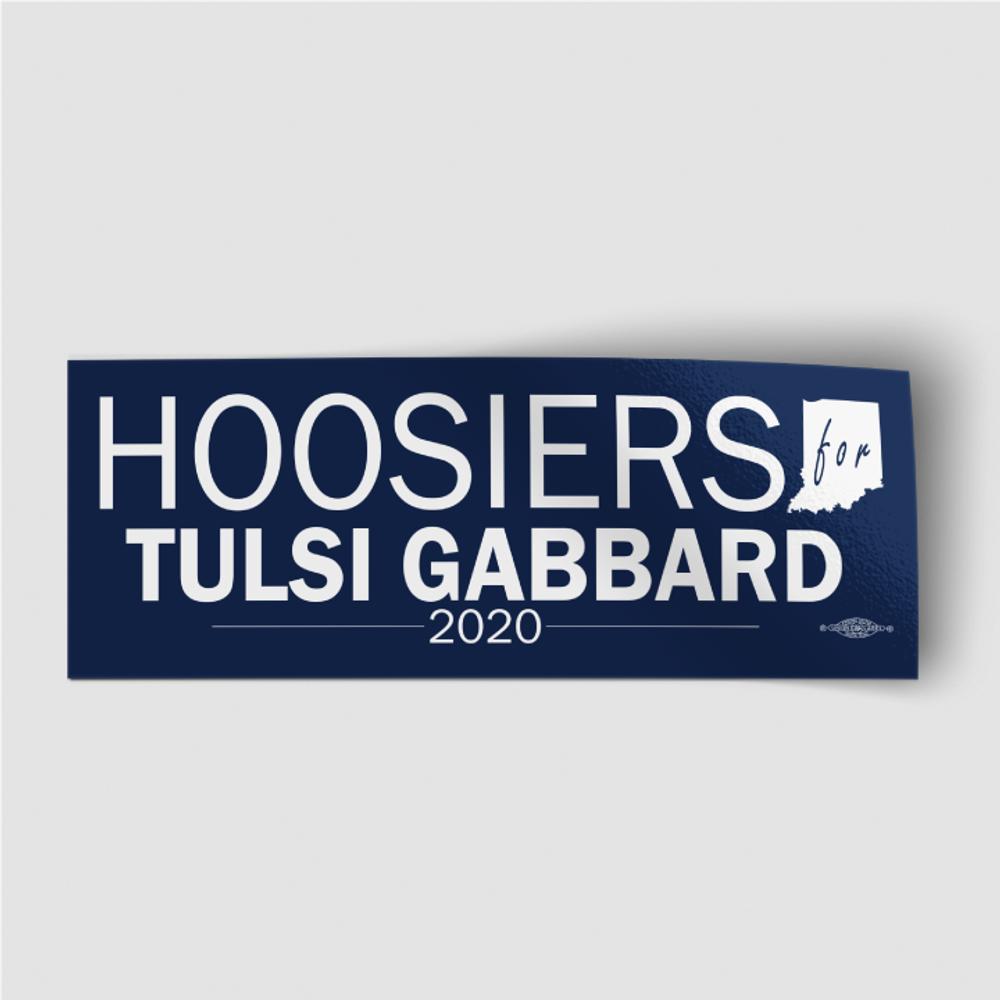 """Hoosiers For Tulsi Gabbard (8"""" x 3"""" Vinyl Sticker)"""