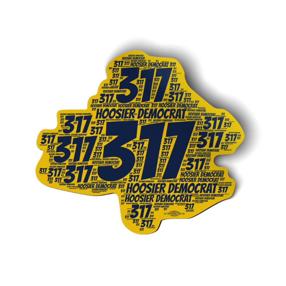 """Area Code 317 (4.5"""" x 4"""" Vinyl Sticker -- Pack of Two!)"""