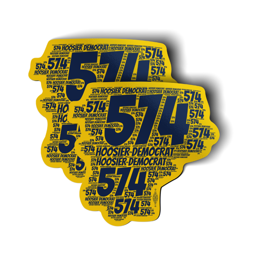 """Area Code 574 (4"""" x 4"""" Vinyl Sticker -- Pack of Two!)"""