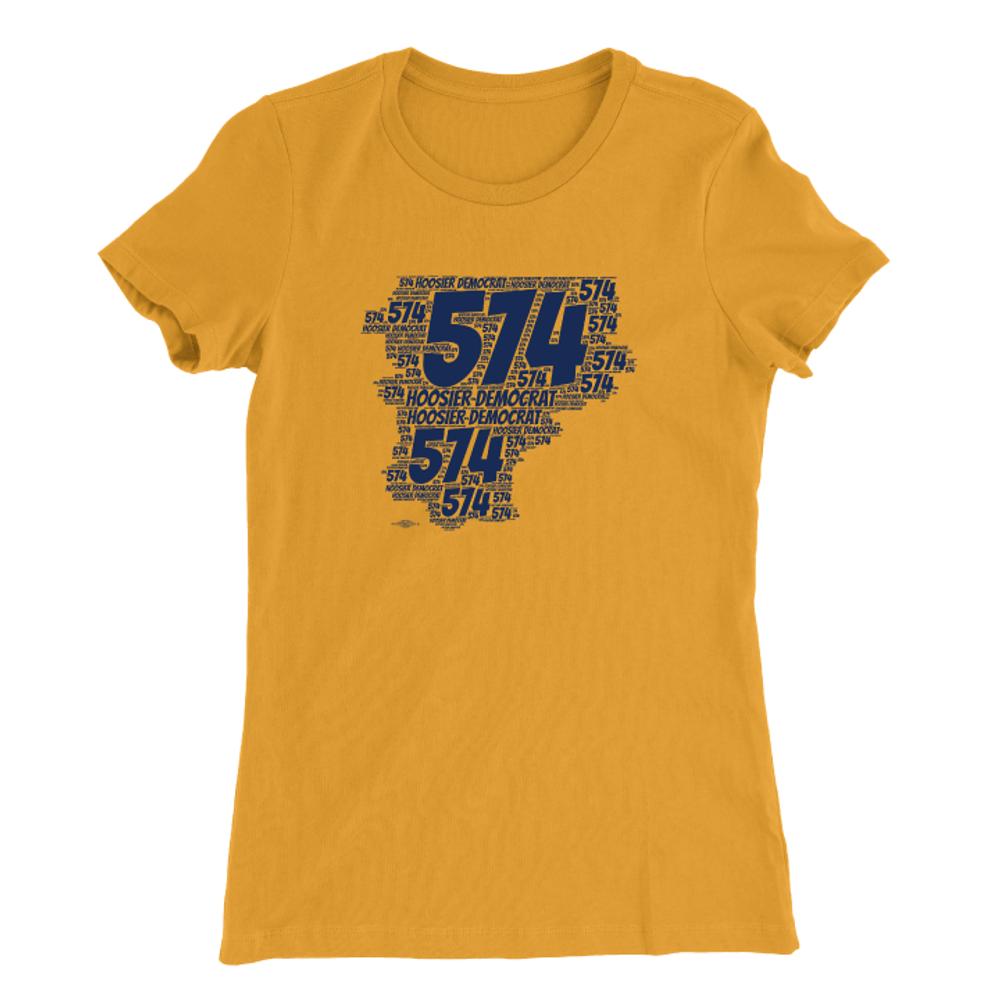 Area Code 574 (Women's Gold Tee)