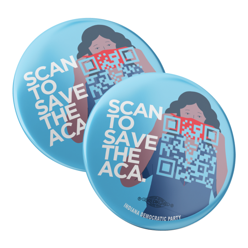 "Scan To Save The ACA (2.25"" Pin-Back Button -- Pack Of Two!)"