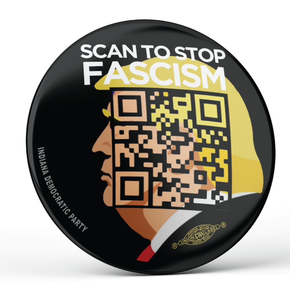 "Scan To Stop Fascism (2.25"" Pin-Back Button -- Pack Of Two!)"