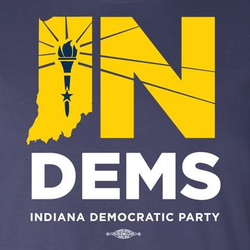 Indiana Democrats Official Logo (Navy Ladies Tee)
