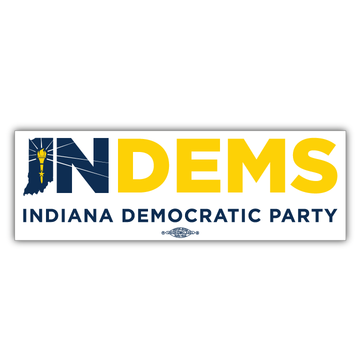 "Indiana Democrats Official Logo (10"" x 3"" Vinyl Sticker -- Pack of Two!)"