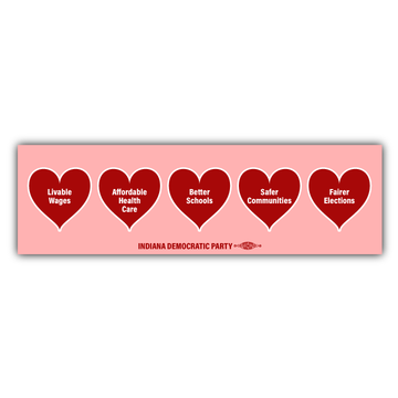 "Valentine's Hearts (10"" x 3"" Vinyl Sticker -- Pack of Two!)"