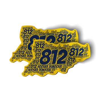 "Area Code 812 (6"" x 3"" Vinyl Sticker -- Pack of Two!)"