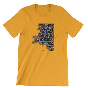 Area Code 260 (Unisex Gold Tee)