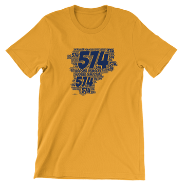 Area Code 574 (Unisex Gold Tee)