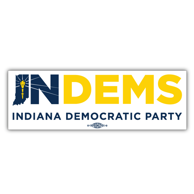 "Indiana Democrats Official Logo (10"" x 3"" Vinyl Sticker)"