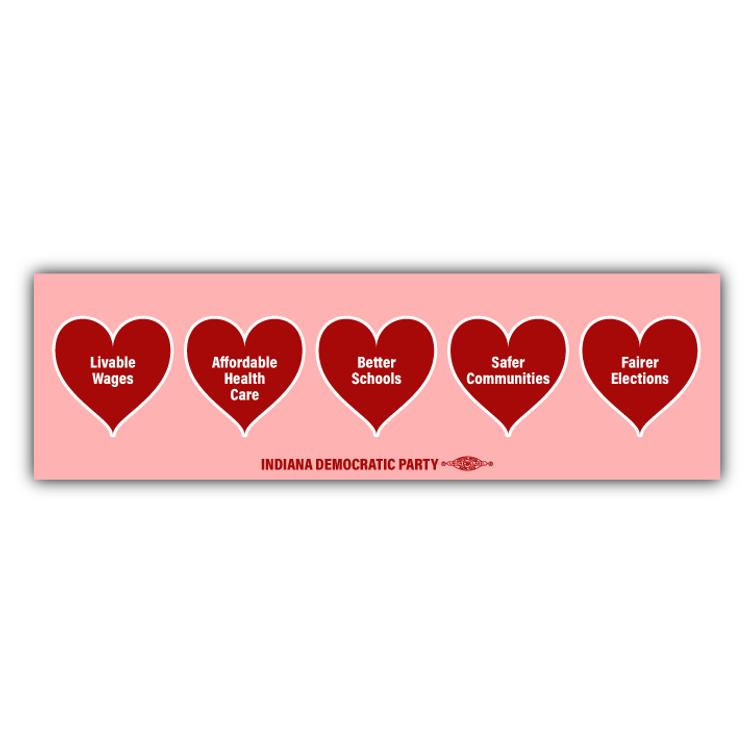 """Valentine's Hearts (10"""" x 3"""" Vinyl Sticker)"""