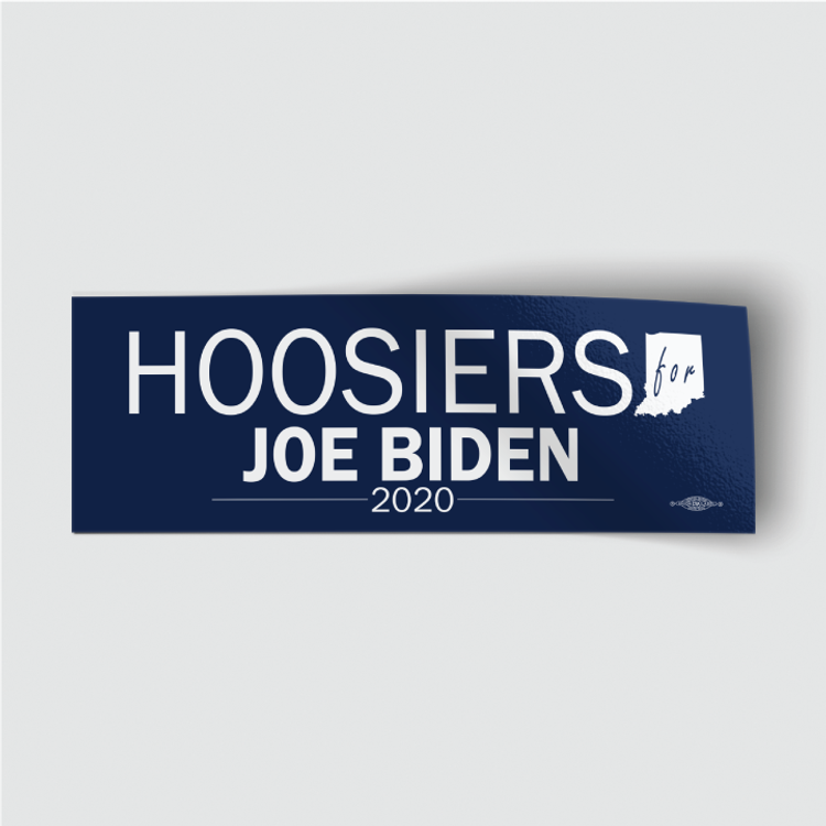 "Hoosiers for Joe Biden (8"" x 3"" Vinyl Sticker)"