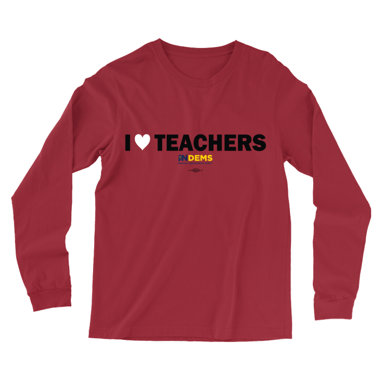 I Love Teachers (Unisex Red Longsleeve Tee)