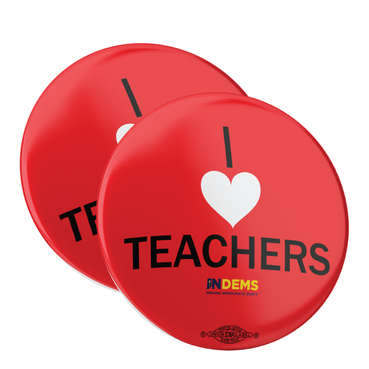 "I Love Teachers (2.25"" Pin-Back Button - Pack of Two!)"