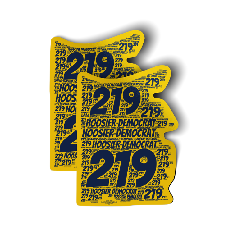 "Area Code 219 (4"" x 5.5"" Vinyl Sticker -- Pack of Two!)"