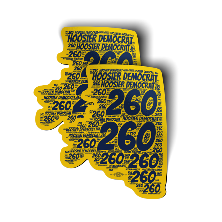 "Area Code 260 (4"" x 4.5"" Vinyl Sticker -- Pack of Two!)"
