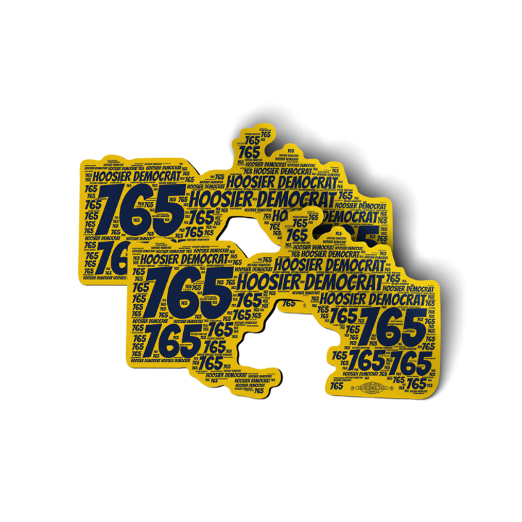 "Area Code 765 (6"" x 3.5"" Vinyl Sticker -- Pack of Two!)"