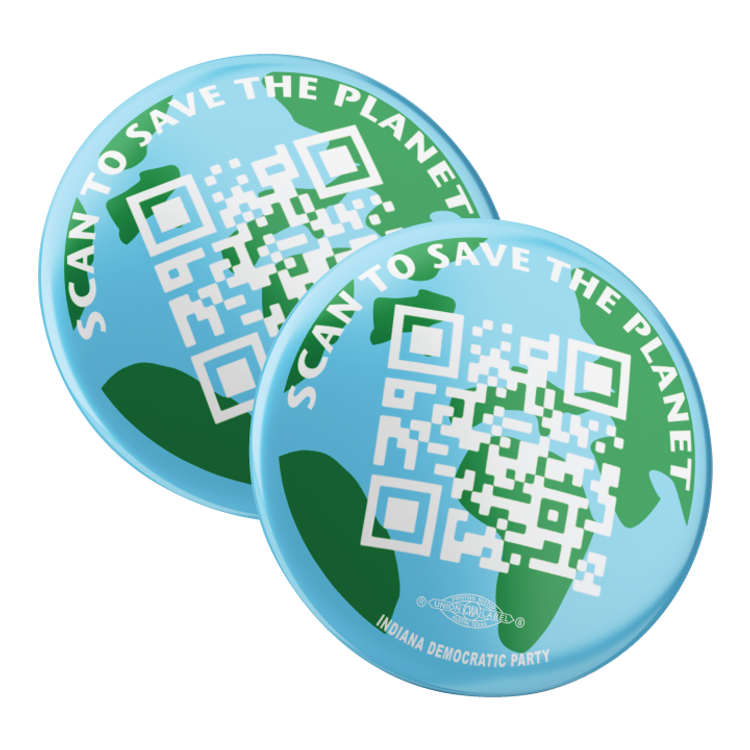 "Scan To Save The Planet (2.25"" Pin-Back Button-- Pack of Two!)"