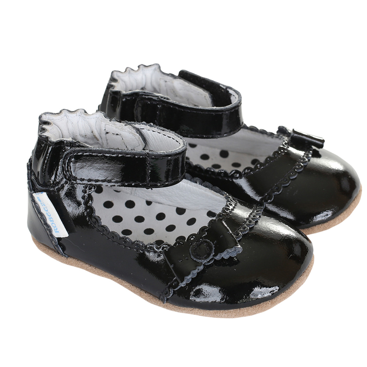 307fe14236aa Girls  baby shoes in black patent leather. Soft Soled with rubber out ...