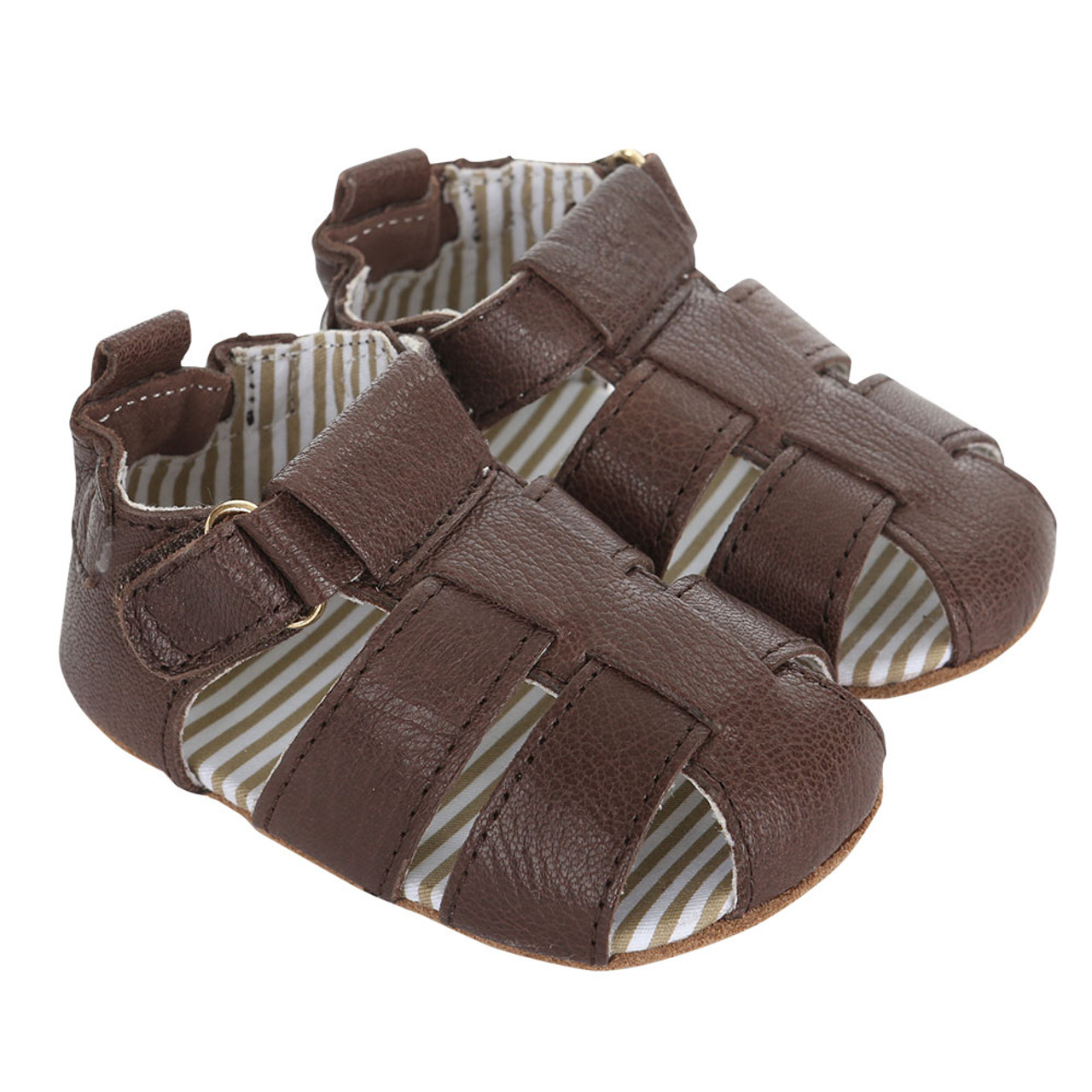 a7df76e93 Brown leather baby sandals with soft soles and adjustable strap.