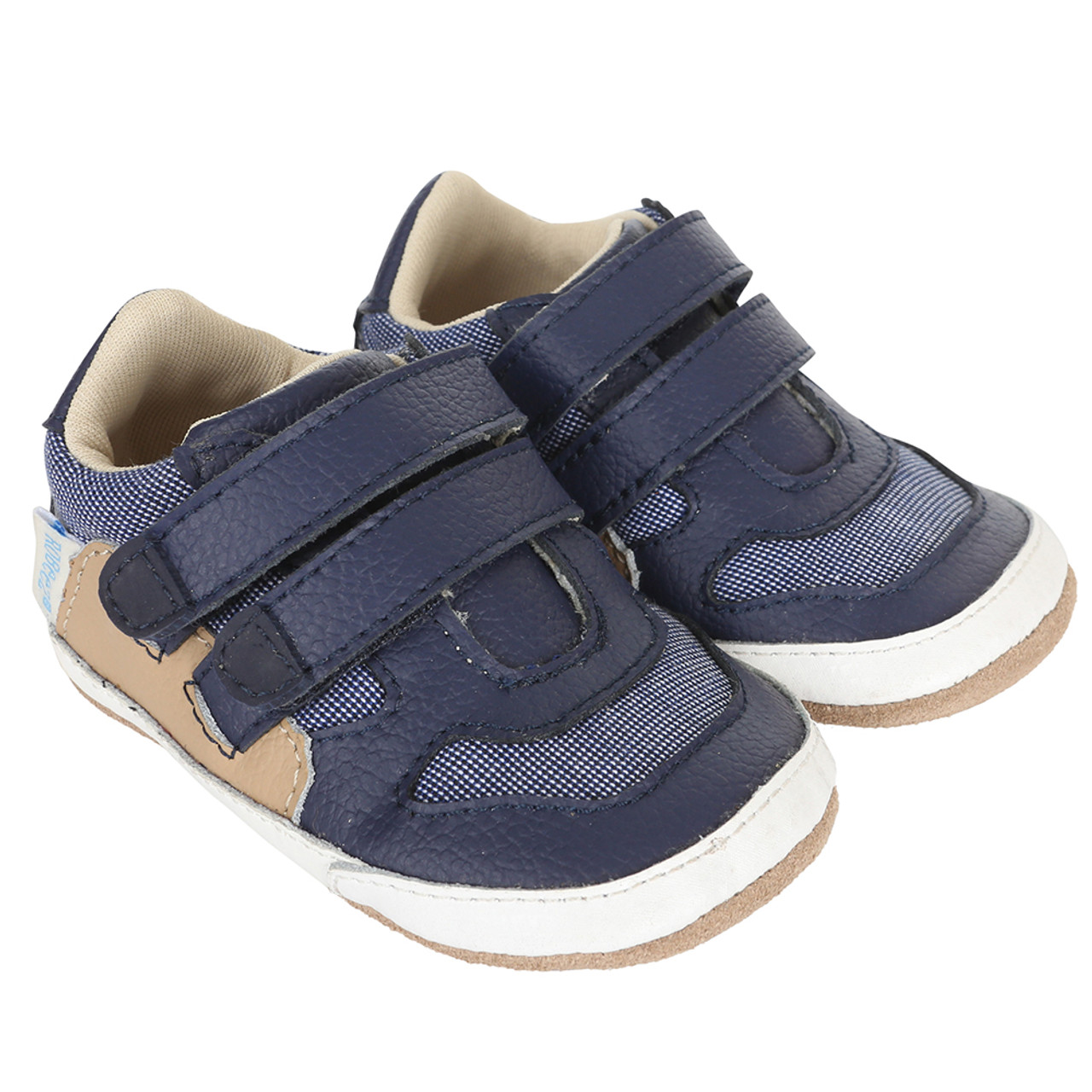 5b884fbf8878 Navy leather and canvas baby shoe for infants