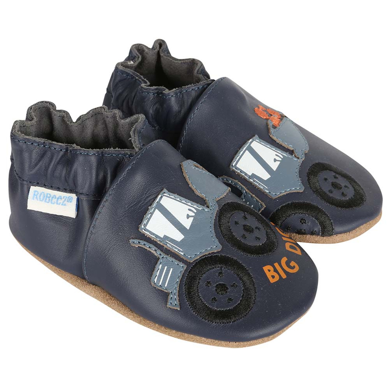 4946df3e61f7d3 Boys bay shoes in navy leather featuring diggers. Soft soles for babies