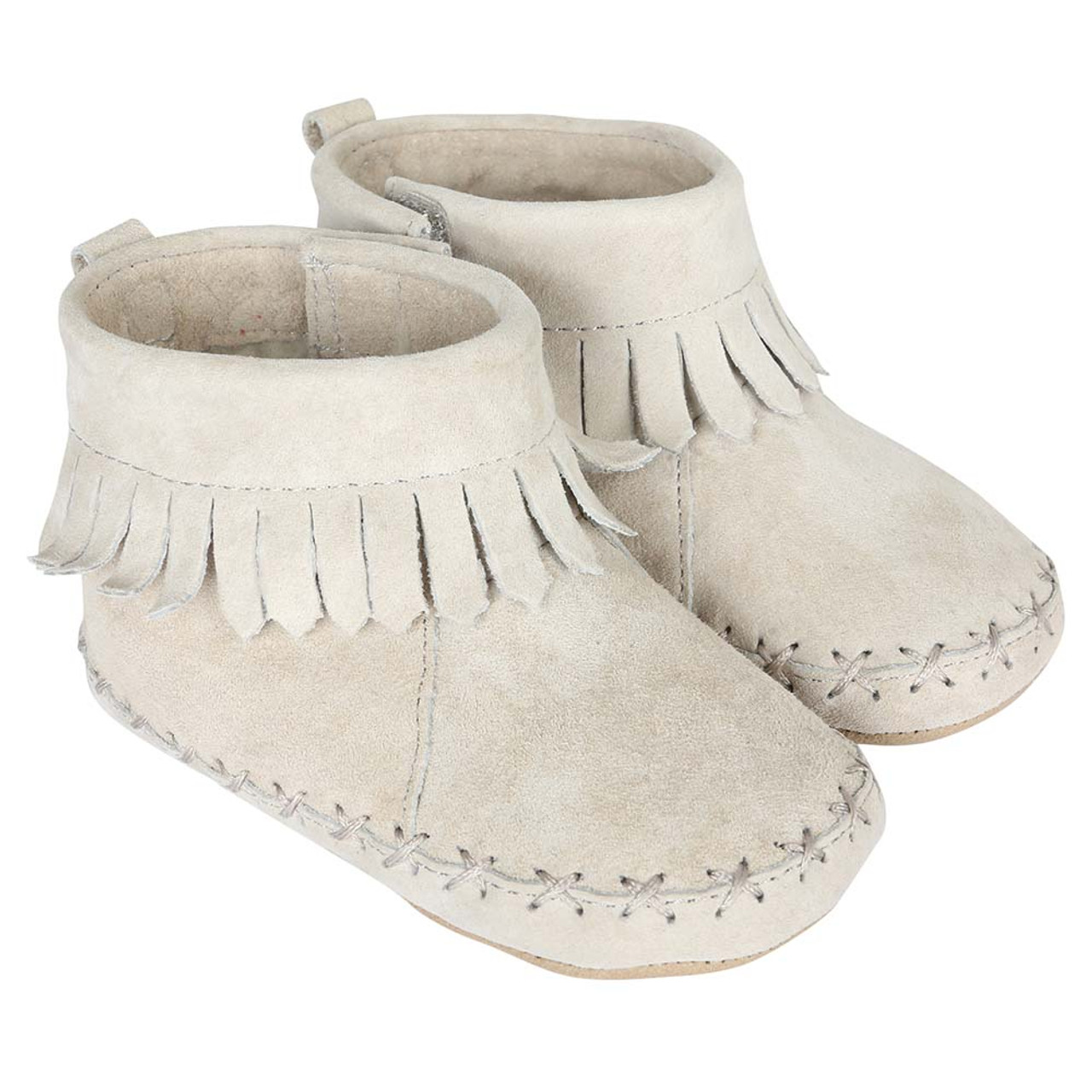 783d8d384662 ... Robeez Cozy Ankle Moccasins Grey Soft Soles. Baby Moccasins in grey  suede with fringe. Soft Soles for boys or girls.