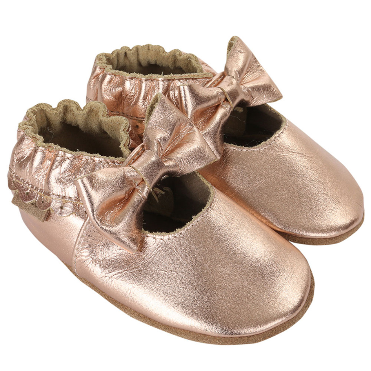 bedf3ee765d Robeez Premium Leather Rosie Moccasins Gold Soft Soles - Angle